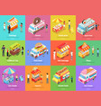 street food stores isometric banners vector image vector image