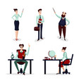 teachers set group of talking lecturer male and vector image vector image