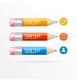 text boxes infographics icon and pencil vector image vector image