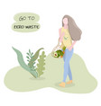 the girl holds a wicker eco-bag female vector image