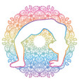 women silhouette upward bow wheel yoga pose vector image vector image