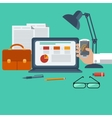 Workplace with laptop smartphone office objects vector image vector image