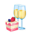 champagne with dessert vector image