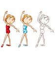 drafting character for girl doing ballet vector image