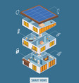 flat 3d isometric smart home in cut view vector image