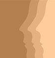 Beige background with human face profiles vector image