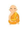 buddhist monk meditating in lotus position vector image