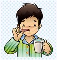 A boy brushing her Teeth vector image