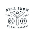 air show emblem in thin line style vector image vector image
