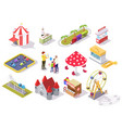 amusement park flat isometric icon set vector image vector image