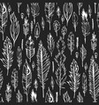 black boho feather seamless pattern vector image