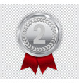 champion art silver medal with red ribbon icon vector image vector image