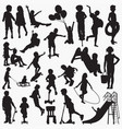 child siliding silhouettes vector image