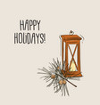 christmas lantern with candle and pine branch vector image vector image