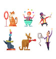circus cartoon characters mascots isolate vector image