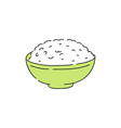 cooked white rice in green bowl vector image