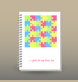 cover of diary pastel colored cute puzzle pattern vector image vector image