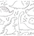 cute baby dinosaurs seamless pattern vector image