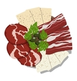 Dish with sliced ham cheese bacon and olives vector image