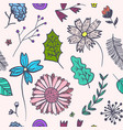 doodle pink floral pattern with colorful flowers vector image vector image