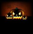 happy halloween poster with pumpkins vector image vector image