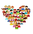 Heart shape with boys and girls vector image vector image