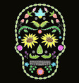 human skull with flower elements for religion vector image vector image
