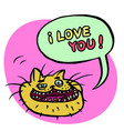 i love you cartoon cat head vector image vector image