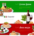 italian food horizontal banners set vector image