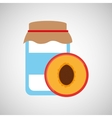 jar cute blue peach with jam graphic vector image