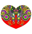 lace heart shape with ethnic floral paisley design vector image