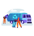 man cleaning trash container to rubbish truck vector image