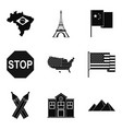 mapping icons set simple style vector image vector image