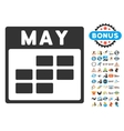 May Calendar Grid Flat Icon With Bonus vector image vector image