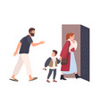 mother leaves home with children father stays vector image vector image