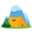 mountains and tourist tent hiking climbing vector image