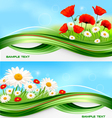 nature banners with flowers vector image vector image