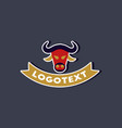 paper sticker on stylish background bull logo vector image vector image