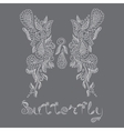 pattern Mehendi white butterfly vector image vector image