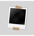 Photo frame polaroid template on transparent grid vector image vector image