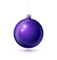 realistic purple christmas ball with silver ribbon vector image vector image