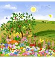 rural landscape with a fence vector image vector image