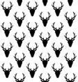 seamless pattern deer head silhouette vector image vector image