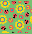 seamless pattern with flowers and ladybirds on vector image