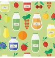 Seamless pattern with jars of jam in flat style vector image