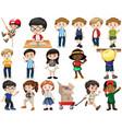 set happy children doing different actions vector image vector image