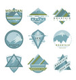 set mountain adventure outdoor camp logo badges vector image