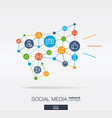 social media integrated thin line icons in vector image vector image