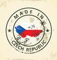Stamp with map flag of Czech Republic vector image vector image
