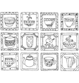 Tea cups and pots frame funny banner hand drawn vector image